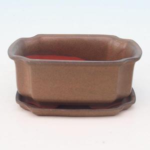 Bonsai miska + podmiska H01, hnědá