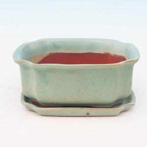 Bonsai miska + podmiska H01, zelená