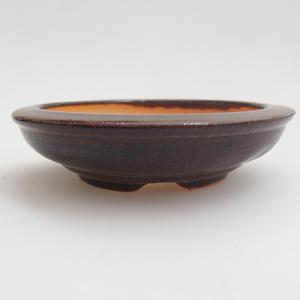 Keramická bonsai miska 8 x 8 x 2  cm, barva hnědá