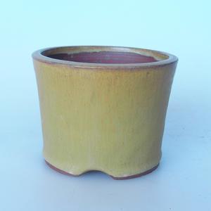 Keramická bonsai miska 10,5 x 10,5 x 8 cm barva žlutohnědá