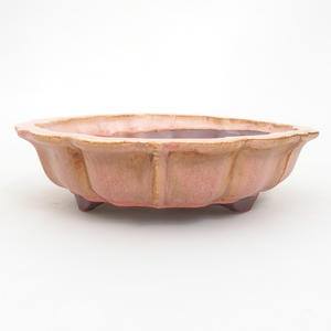 Keramická bonsai miska 18,5 x 18,5 x 5  cm, barva růžová