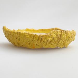 Keramická bonsai miska 17 x 17 x 4 cm, barva žlutá