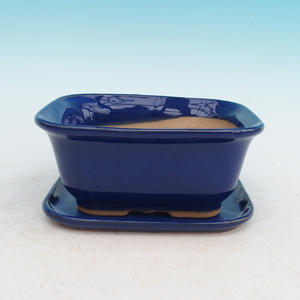 Bonsai miska + podmiska H38, modrá