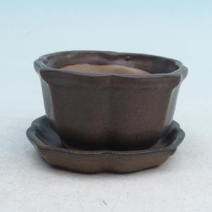 Bonsai miska + podmiska H95, hnědá