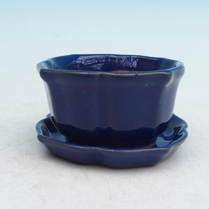 Bonsai miska + podmiska H95, modrá