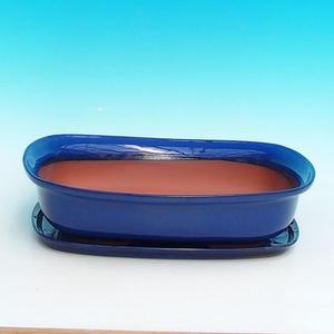 Bonsai miska + podmiska H10, modrá