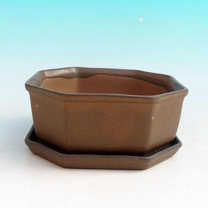 Bonsai miska + podmiska H13, hnědá