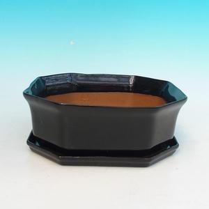 Bonsai miska + podmiska H14, cierna
