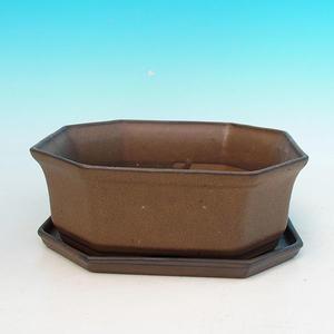 Bonsai miska + podmiska H14, hnědá