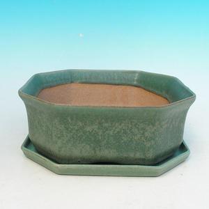 Bonsai miska + podmiska H13, zelená