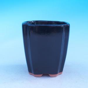 Keramická misa bonsai - kaskáda, čierna lesklá