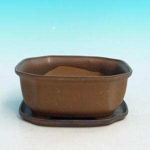 Bonsai miska a podmiska H 31, hnědá