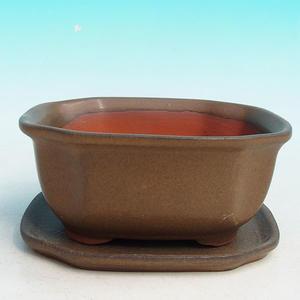 Bonsai miska + podmiska H32, hnědá