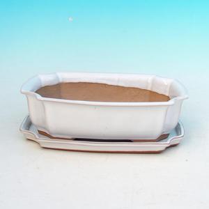 Bonsai miska + podmiska H03, bílá