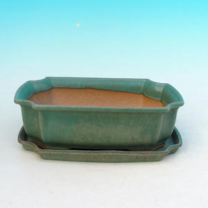 Bonsai miska + podmiska H03, zelená