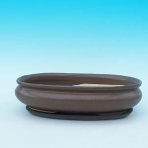 Bonsai miska + podmiska H15, hnědá