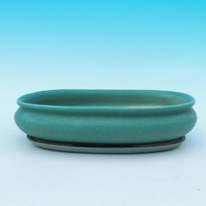 Bonsai miska + podmiska H15, zelená