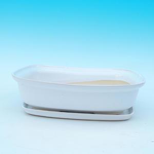 Bonsai miska + podmiska H09, bílá