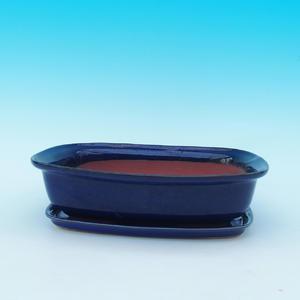 Bonsai miska + podmiska H 08, modrá