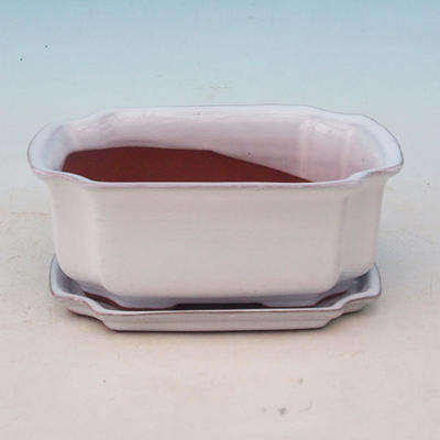 Bonsai miska + podmiska H01 - miska 11,5 x 9 x 5 cm, podmiska 11,5 x 8,5 x 1 cm, bílá - 1