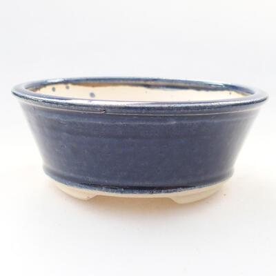 Keramická bonsai miska 10,5 x 10,5 x 4 cm, farba modrá - 1