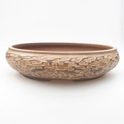 Keramická bonsai miska 33 x 33 x 8,5 cm, barva béžová - 1