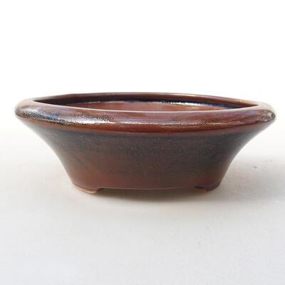 Keramická bonsai miska 12,5 x 12,5 x 4 cm, barva hnědá - 1