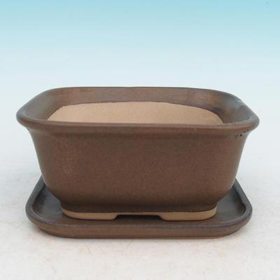Bonsai miska podmiska H36 - miska 17 x 15 x 8 cm, podmiska 17 x 15 x 1 cm, hnedá - miska 17 x 15 x 8 cm, podmiska 17 x 15 x 1 cm - 1