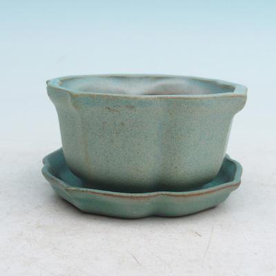 Bonsai miska + podmiska H95, zelená - 1
