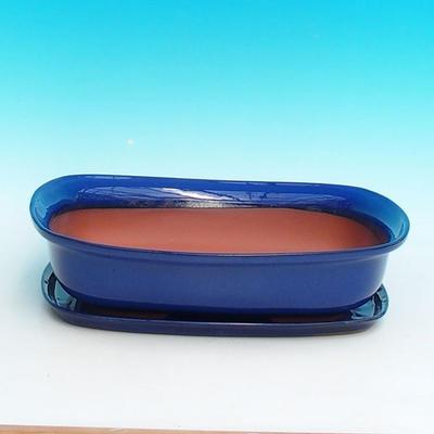 Bonsai miska + podmiska H10, modrá - 1