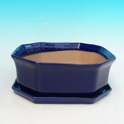 Bonsai miska + podmiska H14, modrá - 1