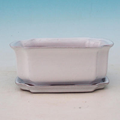 Bonsai miska + podmiska H01 - miska 11,5 x 9 x 5 cm, podmiska 11,5 x 8,5 x 1 cm, bílá - 2