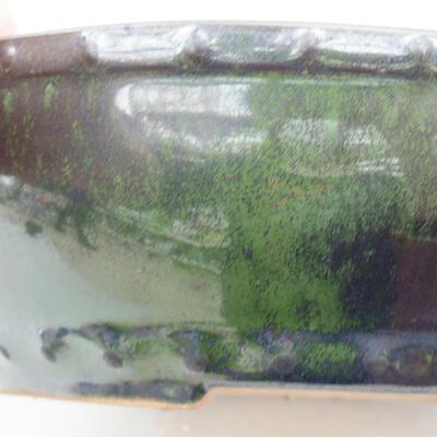Keramická bonsai miska 18 x 18 x 5 cm, farba zelená - 2