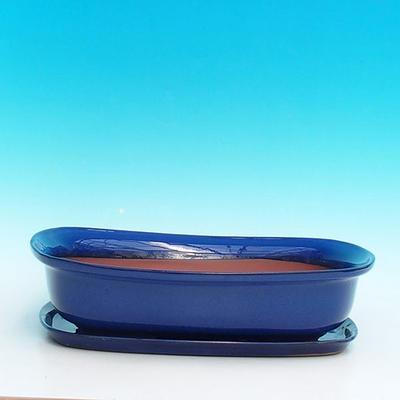 Bonsai miska + podmiska H10, modrá - 2