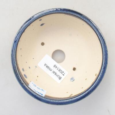 Keramická bonsai miska 10,5 x 10,5 x 4 cm, farba modrá - 3
