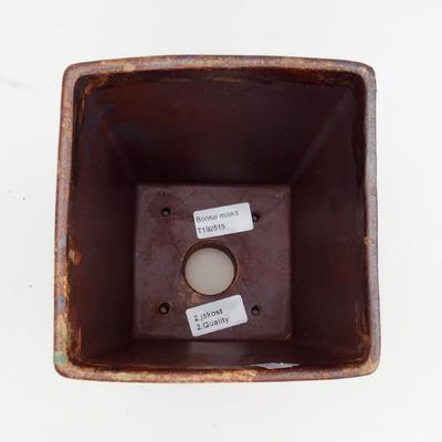 Keramická bonsai miska 2.jakost - 15 x 15 x 19 cm, barva hnědozelená - 3