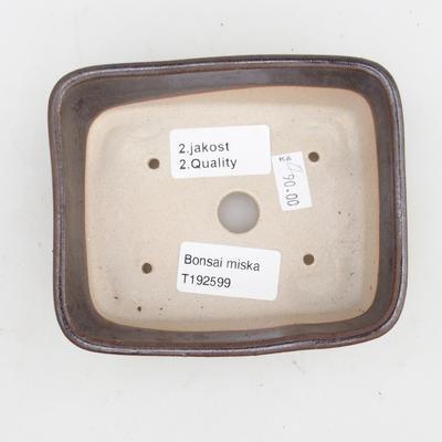 Keramická bonsai miska 2.jakost - 12 x 10 x 4 cm, barva hnědá - 3