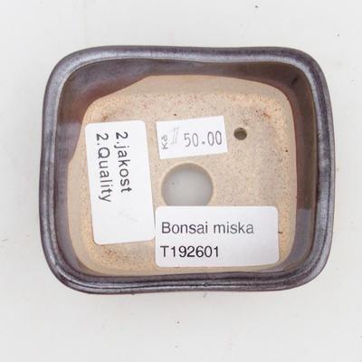 Keramická bonsai miska 2.jakost - 8 x 7 x 3 cm, barva hnědá - 3