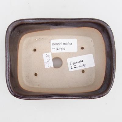 Keramická bonsai miska 2.jakost - 13 x 10 x 6 cm, barva hnědá - 3