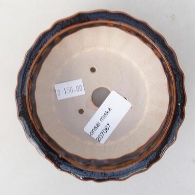 Keramická bonsai miska 11 x 11 x 4,5 cm, barva hnědá - 3