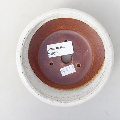 Keramická bonsai miska 12,5 x 12,5 x 4 cm, barva bílá - 3