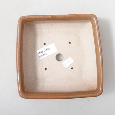 Keramická bonsai miska 15 x 15 x 5,5 cm, farba hnedá - 3