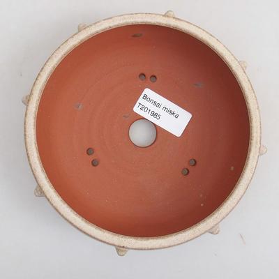 Keramická bonsai miska 14 x 14 x 5 cm, barva béžová - 3