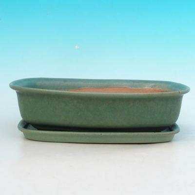 Bonsai miska + podmiska H10, zelená - 4