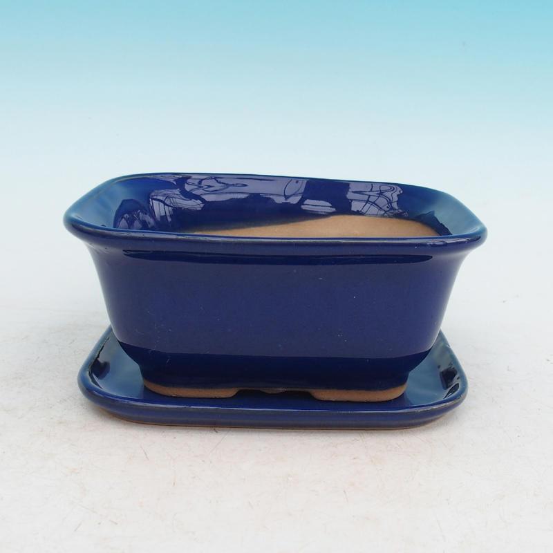Bonsai miska + podmiska H37 modrá